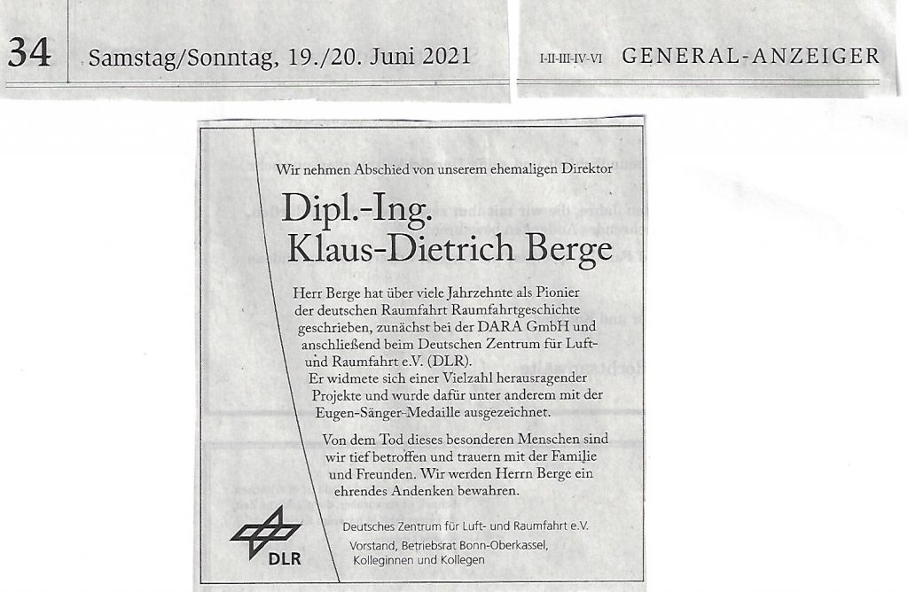 Todesanzeige Klaus-Dietrich Berge 20062021